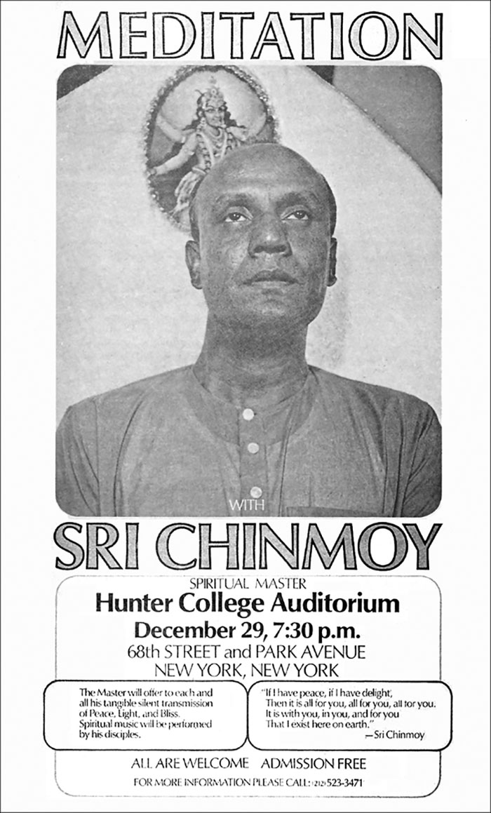 ster advertising Sri Chinmoy's New Year's Meditation at Hunter College in New York